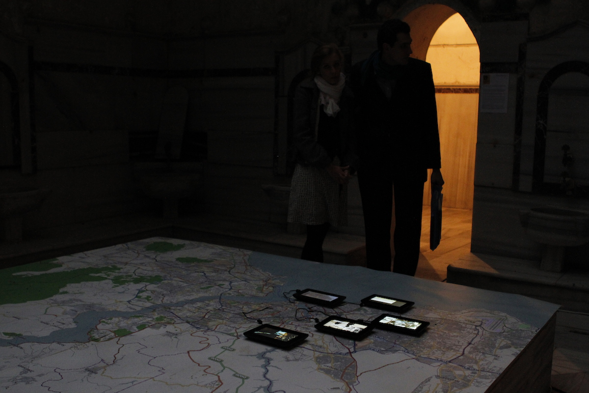 "The videos produced during the ""Mapping the commons of Istanbul"" workshop were shown from 10/11/2012 - 18/11/2012 at Çukurcuma Hamamı in Beyoglu, Istanbul."